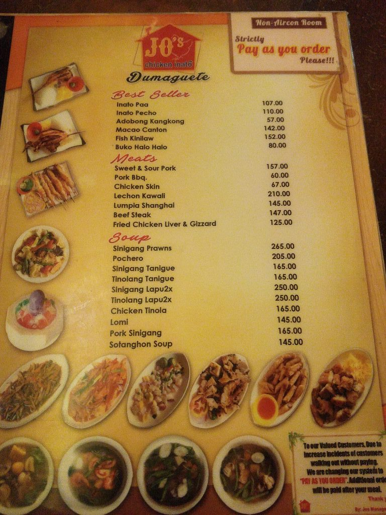 Specialty Jo Chicken Inato Menu